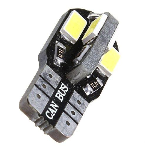 SODIAL 2 pieces T10 194 168 W5W 5730 8 SMD 12V Feux de position lateraux pour berceau de voiture Feu de stationnement sur plaque d'immatriculation pour voiture Blanc