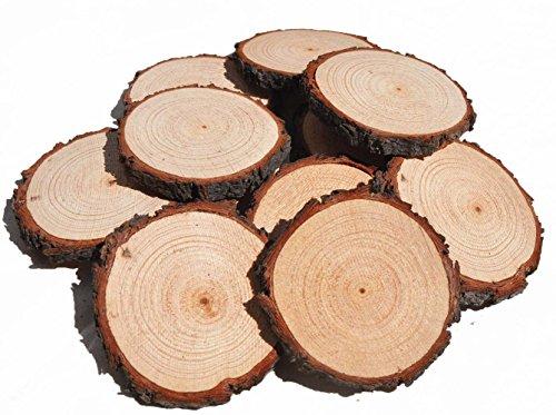 10 Packs Holz Scheibe Runde Naturholz Scheiben, Hochzeit Tisch Display Holzplatte für Weihnachten Tags (3 Inch)
