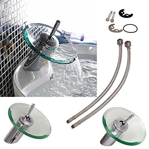 Ridgeyard Casa rubinetto miscelatore a cascata per bagno lavabo in vetro basin mixer tap