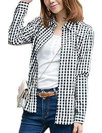 Fesky Chemise Femme Fille à Carreaux Rouge Chemisier Blouse pour Femmes Femme Manche Longue Chic