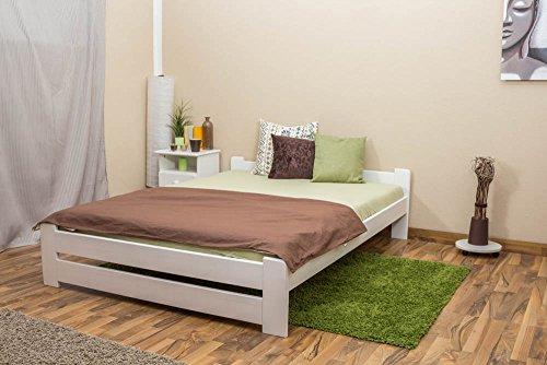 Futonbett / Massivholzbett Kiefer Vollholz massiv weiß lackiert A9, inkl. Lattenrost - Abmessung 140 x 200 cm