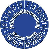 Labelident Prüfplaketten - Prüfmittelüberwachung/Nächster Termin, Mehrjahresprüfplakette, Zeitraum 2019-2024, Ø 15 mm, 240 Stück, Vinylfolie blau, Aufdruck weiß