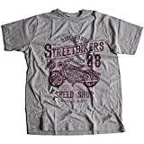 A002-160g Street Bikers Hommes T-Shirt Ride Hard Speed Shop Caferacer Custom Engine Garage Moto Cafe Racer Club(Medium,Sportsgrey)