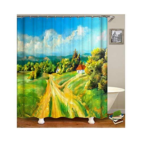Abellale Bad Dusche Vorhang Rustikal Oil Malerei Waschbarer Duschvorhang Bunt 90x180CM (Herrliche Dusche Vorhang)