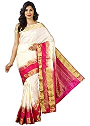 PavechaS Womens Tassar Silk Saree With Blouse Piece (Mk4009_Beige)