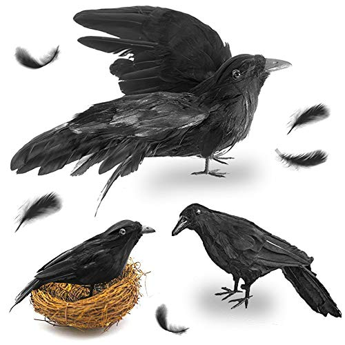 FuturePlusX Realistische Handgefertigt Crow, 3 Stück Künstliche Halloween-gefiederten Black Crows Fly schwarz Birds Halloween Prop Décor für draußen Innen Dekoration