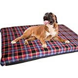 KosiPet® Large Deluxe High Density Foam Mattress Waterproof Dog Bed Beds Red Check Fleece