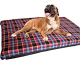 KosiPet® Large Deluxe High Density Foam Mattress Waterproof Dog Bed Beds Red Check Fleece