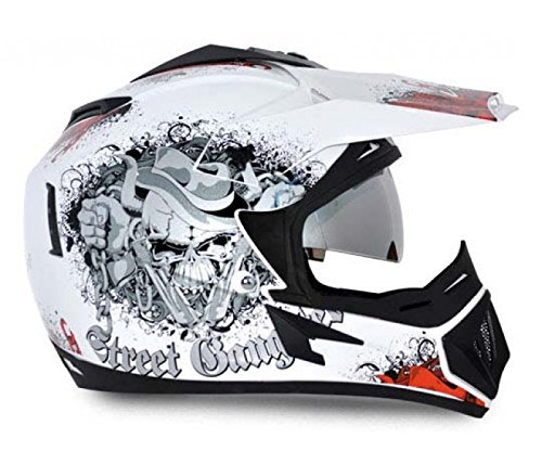 Vega Off Road Gangster HE1277 Helmet with Double Visor (White and Orange, M)