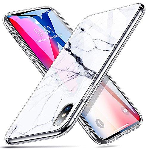 ESR Hülle für iPhone X - Handyhülle mit Hartglas Rückseite - Kratzfeste Schutzhülle mit Marmordesign für iPhone 5,8 Zoll (Kompatibel mit iPhone XS) - White Sierra