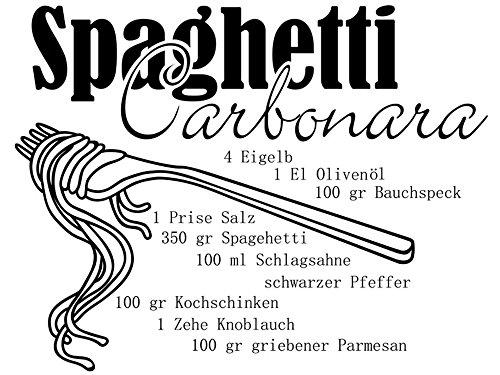 Wandtattoo-bilder® Wandtattoo Küchen Rezepte Spaghetti Carbonara Nr 1 Kochrezepte Wandsticker Wandaufkleber Farbe Kupfer, Größe 60x46