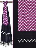 Purple Pochampally Ikat Cotton Handloom Dupatta with Zig-Zag Design