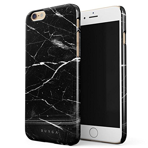 iPhone 6 / 6s Hülle, BURGA Schwarz Marmor Muster Black Marble Dünn, Robuste Rückschale aus Kunststoff Für iPhone 6 / 6s Handyhülle Schutz Case Cover (Teal Color-iphone 6 Case)