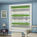 OUBO Doppelrollo Klemmfix ohne Bohren 90 x 150 cm (BxH) Grün-Grau-Weiß Fenster Duo Rollo mit Klemmträgern 90 cm Breit