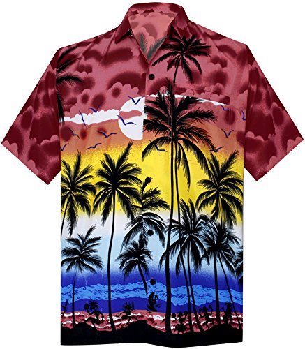 La-Leela-6XL-Botn-de-Playa-de-La-Manga-Corta-Hacia-Abajo-La-Camisa-Hawaiana-Hawaiana-Ocasional-bRed