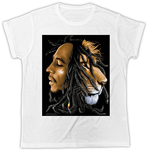 Uk print king Bob Marley Lion Half Face Funny Gift Designer Unisex T-Shirt (Marley-face-t-shirt Bob)
