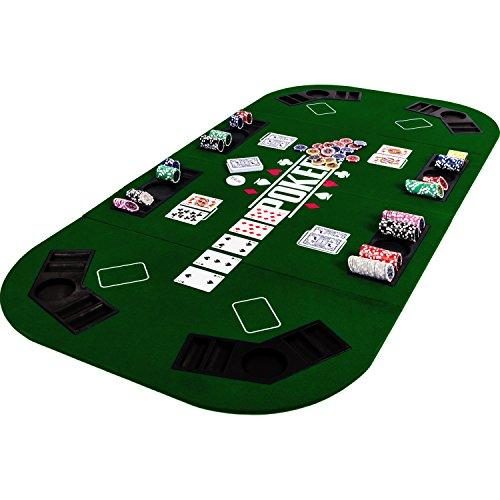 Maxstore Faltbare XXL Pokerauflage für bis zu 8 Spieler, Maße 160x80 cm, MDF Platte, 8 Getränkehalter, 8 Chiptrays, grün - 8