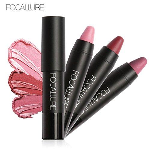 Tonsee 3pcs Longue durée rouge Velvet Matte Crayon de couleur rouge à lèvres Crayon Maquillage Set, Multicolore C