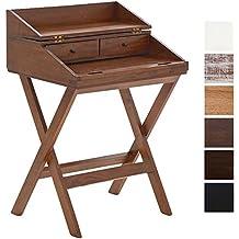 CLP Escritorio POE de madera de caoba con tapa y con mesa extensible. Escritorio de estilo rústico con los acabados hechos a mano. madera rústica