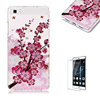 For Huawei P8 Lite Sparkly Sequins soft TPU+IMD Case. Brilliant lovely Colored Drawing Parttern Lightweight Ultra Slim Anti Scratch Transparent Soft Gel Silicone TPU Bumper Protective Case Cover Shell for Huawei P8 Lite - Plum Blossom