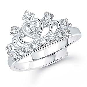 Meenaz Princess Crown Fancy Party Wear Ring For Girls & Women In American Diamond Cz Fr302
