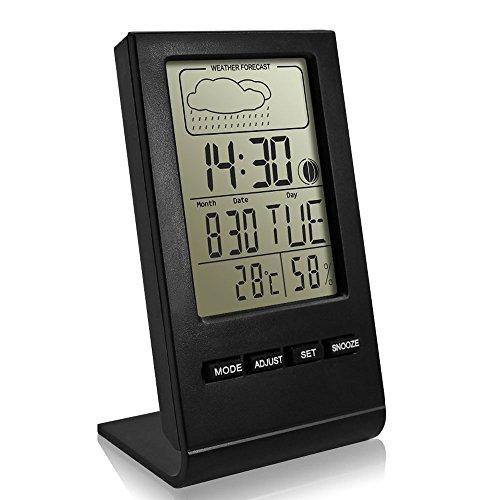 Thermo-Hygrometer, innislink Thermometer Wetterstation Digital Thermohygrometer mit LCD-Anzeige Temperatur Wettervorhersage Mondphasen-Anzeige Feuchtigkeitsmesser mit Wecker Indoor Hygrometer - Schwarz (Wettervorhersage-uhr)