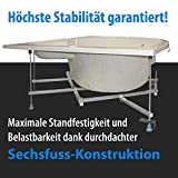 AQUADE Badewanne 140 x 140 extra stabile Eckbadewanne mit Untergestell 140x140 cm Modell: Kassel + Armatur Vergleich