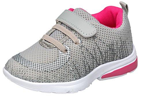 gibra Sportschuhe Sneaker für Babys und Kleinkinder, Art. 4927, Sehr Leicht, mit Klettverschluss, Grau/Pink, Gr. 21