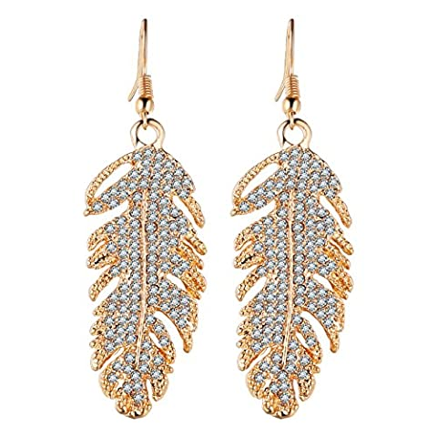 Lianjie Floating Feathers Drop Dangle Earrings for Women Crystal Jewelry Bohemia Style