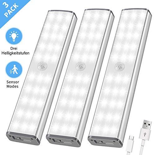 LED Schrankbeleuchtung, Schranklicht mit Bewegungsmelder, 30 LED Licht innen kabellos Sensor, USB Nachtlicht mit 3 Helligkeitsstufen, Treppenlicht 3er Set