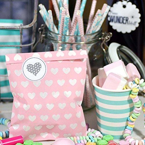 25 Papiertüten, rosa mit Herzen