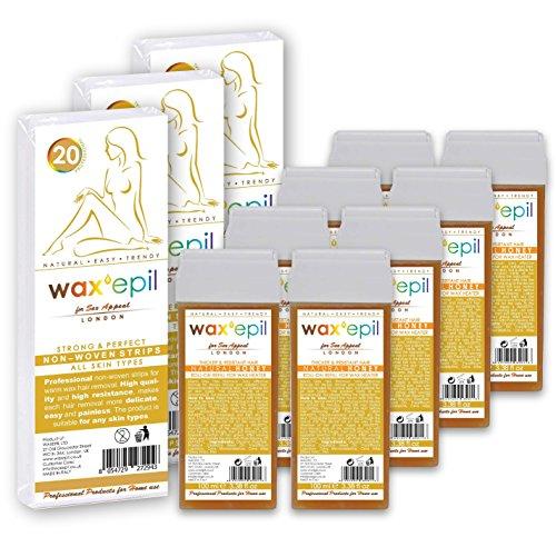 Geschenk 60 VliesStreifen!!! WAXEPIL * Natural Honey / Natürlicher Honig * Warmwachspatronen für Normale Haut, Dickere und Widerstandsfähigeres Haar - Professionelles Roll-On Wachs Nachfüllpatrone Haarentfernung – 8 Stück je 100 ml Kartusche (je 2,62 Euro) + 60 VliesStreifen (Geschenk)