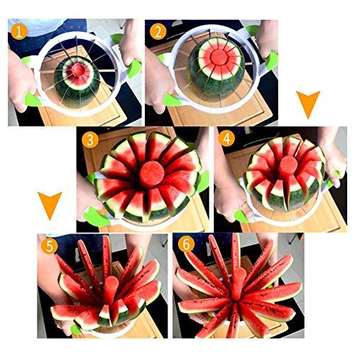 cuffslee Großer Wassermelonenschneider-Obstschneider-Schneider Mit Komfortgummigriff-Haushalts-Edelstahlschneider Cantaloupe Ananas-Zitrone-orange Brot-Schneidemaschine