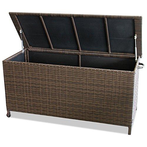 WOHAGA® Gartenbox Auflagenbox Kissenbox Gartentruhe Aufbewahrungsbox Aufbewahrungskiste Kissentruhe – Rollbar, Gasdruckfeder, 134x56xH65cm, Poly Rattan, Braun - 2