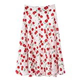 Yuanu Damen Sommer Mode Digitaldruck Mittellange Skirt Bequem Atmungsaktiv Hohe Taille Casual Faltenrock Drucken Stil 4 M