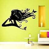 Stickers muraux Salon de beauté Salon de coiffure fille mode femme Coupe de cheveux ciseaux peigne de coiffeur Ciseaux Barbershop Fashion cosmétique vinyle autocollant Décor murale peintures murales Sticker mural tk4...