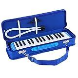 ammoon Melodica 32 Tasti Pianica Stile Piano Tastiera Armonica con Boccaglio Panno di Pulizia Custodia per Principianti Bambini Regalo Musicale (Blu)