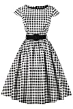 Axoe Damen 50er Jahre Audrey Hepburn Vintage Kleid Rockabilly Cocktail Partykleid Polka Dot- Gr. S (36), Weiß Karierter
