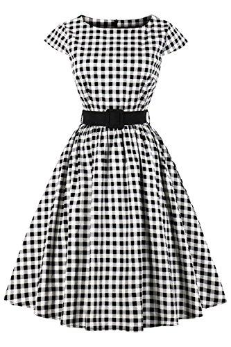Axoe Col Bateau Années 50's à Carreaux Audrey Hepburn Vintage Robe de Soirée Femme Taille Empire
