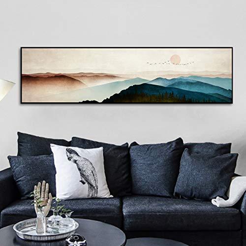 Bilder Auf Leinwand Farbige Gradient Berge, Sonne, Tiere Vögel,Leinwand Wand Bild Wohnzimmer Büro Schlafzimmer, Moderne Leinwand Wand Kunst Leinwand Poster Bild Drucken, 160 * 40 cm