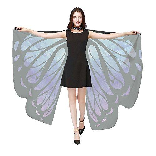 iYmitz Karneval Mode Damen Schmetterlingsflügel Frauen Schals Poncho Kostüm Zubehör Party Pashmina Zubehör Fasching Kostümzubehör(Blau,Free Size) (Indianer Kostüm Verleih)
