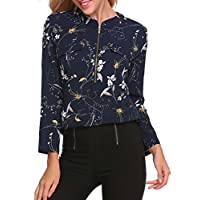 ANGVNS Women Chiffon Blouse Summer V Neck Office Work Blouse Casual Dress Shirts Tops