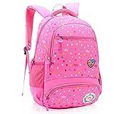 XHHWZB Zaino per borsa scuola primaria per ragazze 7-12 anni, zaino da viaggio in nylon impermeabile multi compartimento per bambini (Colore : Pink)