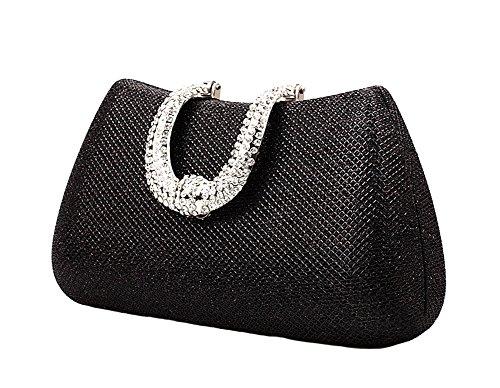 Genda 2Archer Diamante Mini borsa/Bella Pacchetto Vestito/Pacchetto Banchetto di Moda/Borse Da sera/Sposafrizion Nero