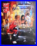 Madjid Bar Scene IV Poster Kunstdruck Bild mit Leinenstruktur Rahmen im Alu Rahmen blau 86x66cm - Germanposters