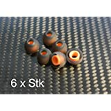 STP 6xM oran/schw - Aufsatz In-Ear Gummi Silikon Ohrpolster Ersatz Große M für fast alle In-Ear Headset, Kopfhörer z.B von LG, Samsung, BlackBerry, Nokia, Sony Ericsson, Motorola u.s.w. (Orange)