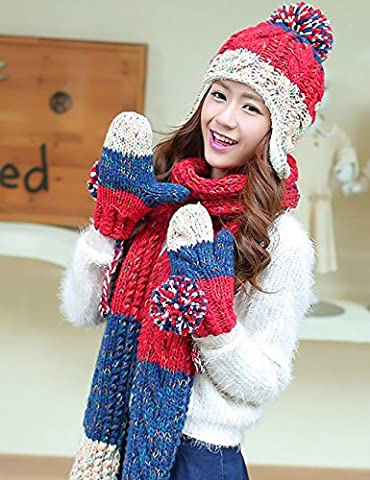 Winter Warmth Wool Hat Scarf Gloves Three-piece ( Color :