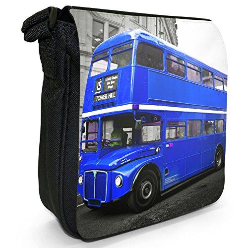 London Bus-Borsa a spalla piccola di tela, colore: nero, taglia: S Nero (Blue London Bus)