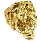 LION LIONS HEAD DOOR KNOCK KNOCKER SOLID BRASS