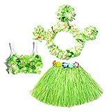 BESTOYARD 6 Stücke Tropical Hula Gras Rock Hawaiian Kostüm Kostüm Kinder Blume Leis Armbänder Stirnband Halskette BH Set 40 cm (Grüner Rock)